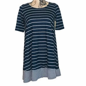 ANTHROPOLOGIE Puella Navy Terry Striped Tunic XS